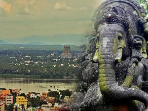 Famous Rock Fort Temple Of Ganesha Tiruchirappalli Tamilnadu Hindi